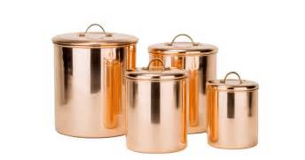 contemporary kitchen canisters 4 piece copper canister set with brass knobs