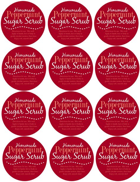 printable directions sugar scrub the gallery for gt peppermint candy printable template