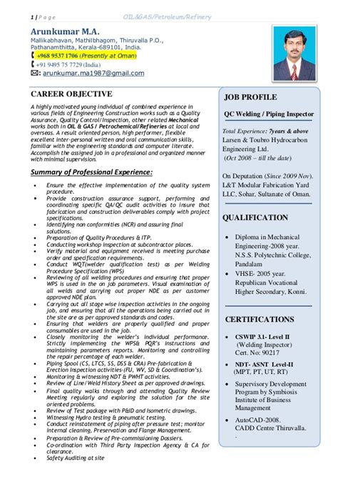 piping inspector resume resume ideas