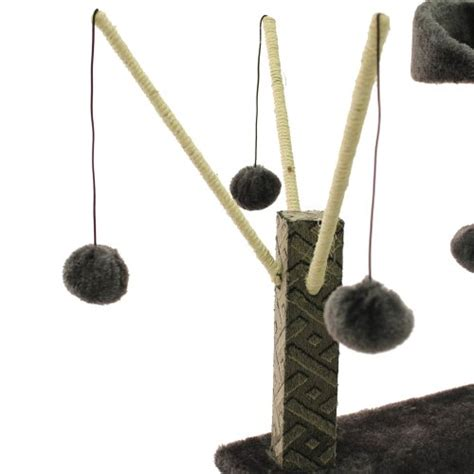 swinging ball toy mool deluxe cat scratching tree post with 2 viewing