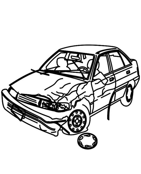 wrecked car drawing crashed cars picture coloring pages netart
