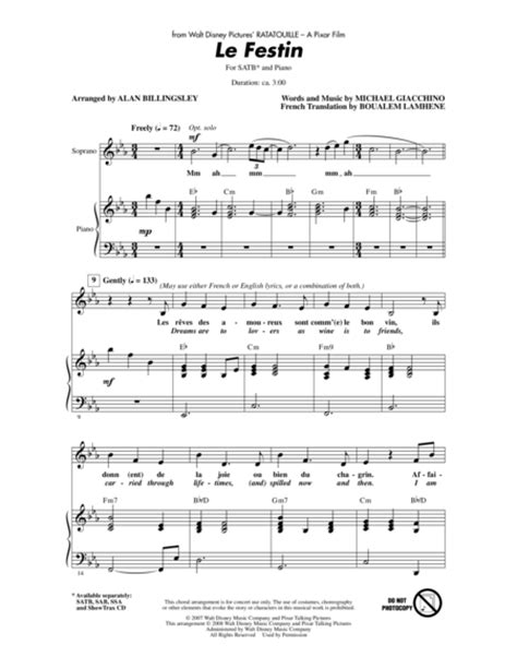 ratatouille song download le festin from ratatouille sheet music by alan