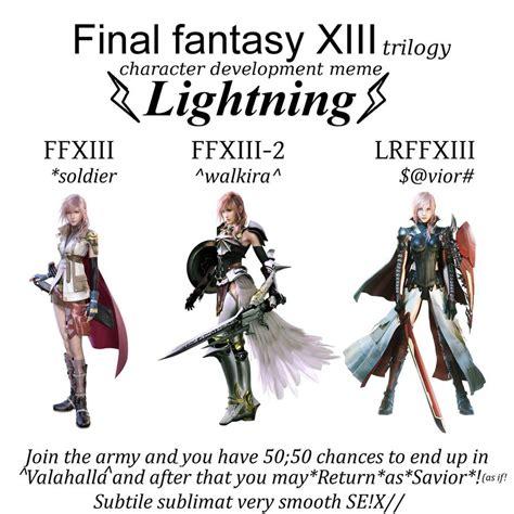 Final Fantasy Memes - ffxiii character development meme lightning by artreall on