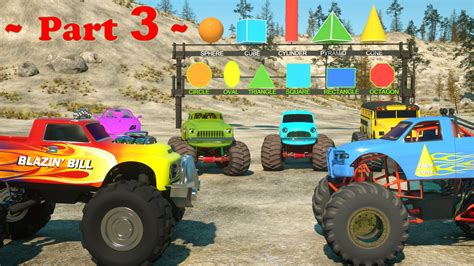monster truck race learn shapes and race monster trucks toys part 3