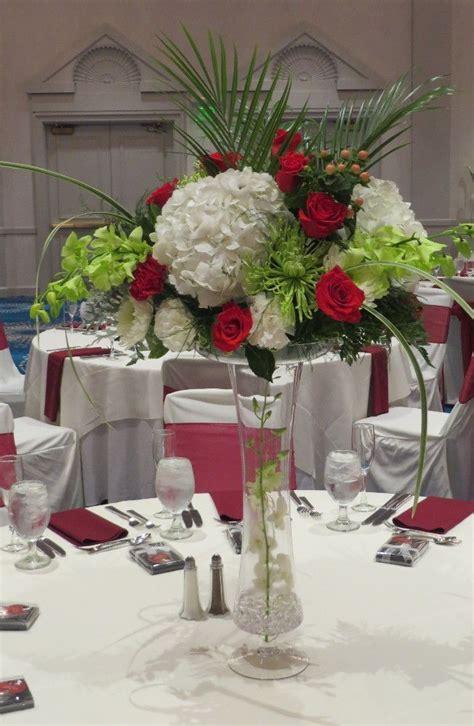 white hydrangea red rose centerpiece rose centerpieces