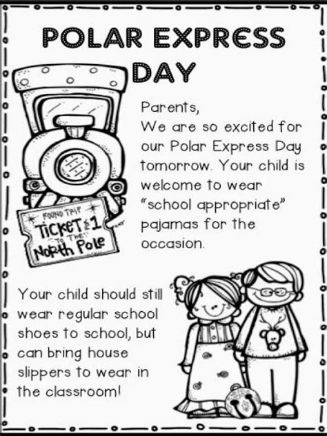 printable polar express tickets kindergarten polar express activities free note home to parents about