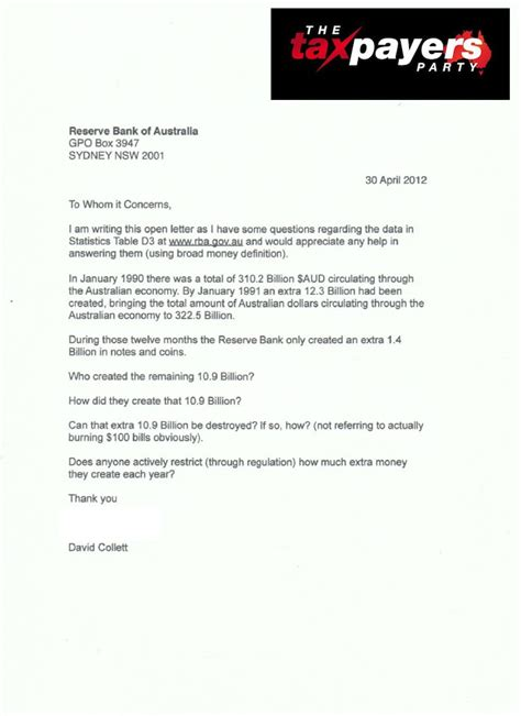 Response Letter To Bank Rba Fractional Reserve Banking Open Letter The Taxpayers