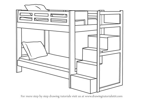 how to draw bedroom step by step step by step how to draw a bunk bed drawingtutorials101 com