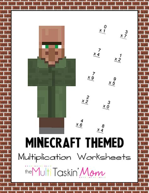 printable minecraft activity sheets minecraft themed math worksheets