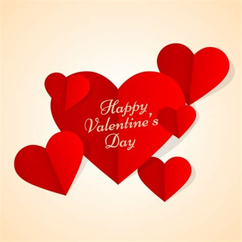 valentines card with hearts in paper style vector free