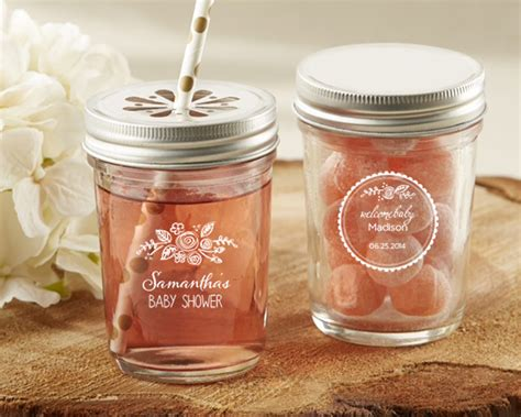 Jar Bridal Shower Favors by Personalized Rustic Baby Shower Printed Glass Jar Set Of 12 Wedding Favors