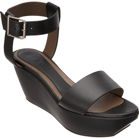Sandal Wanita Wedges Jnr Black Silver marni platform wedge sandal in black silver lyst