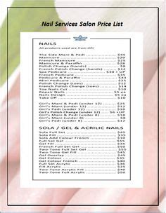 Us Nails Spa Price List Home Pinterest Us Nails Price List And Spa Prices Nail Menu Template