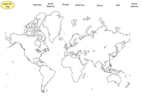 Printable Map With Continents And Oceans