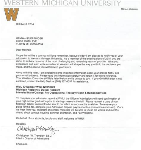 Scholarship Letter For College Acceptance Letter Scholarship Kleppinger
