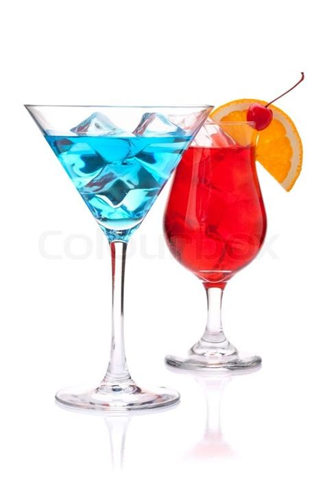 martini clipart no background two tropical cocktails blue and isolated on white