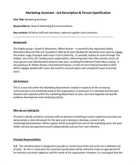 9 Marketing Job Description Sles Sle Templates Marketing Assistant Description Template