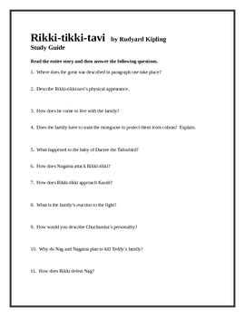 Rikki-tikki-tavi Study Guide with answer key by The Lit