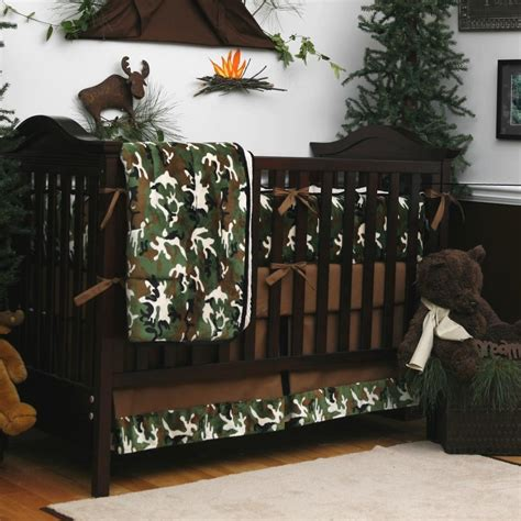 green camo 3 crib bedding set carousel designs