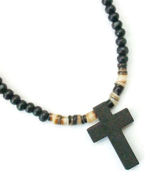 beaded necklaces mens s black wooden cross beaded surfer necklace 19 quot new ebay