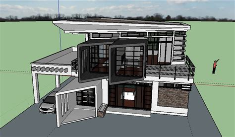 House Design Sketchup 2 Storey Modern Zen House Design Sketchup Model Cad