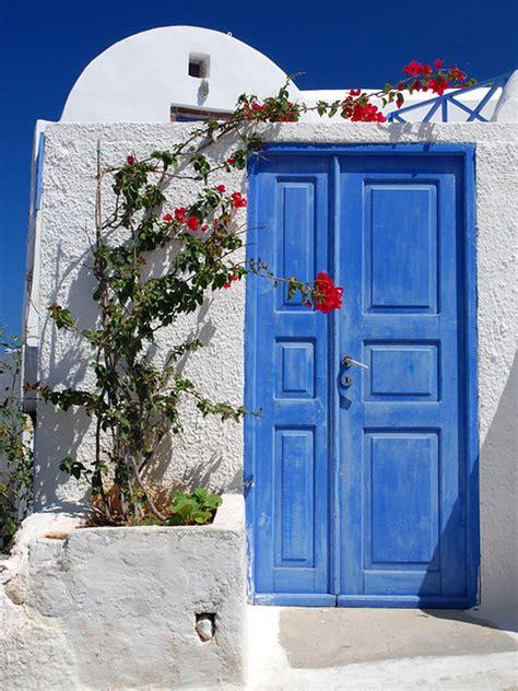 blue door oia santorini greece june   love