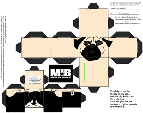 frank  pug paper toy  printable papercraft templates