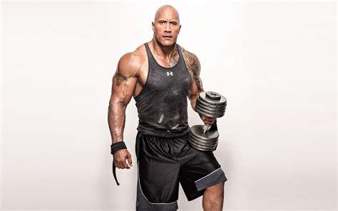 the rock wallpaper dwayne johnson the rock weights workout 4k 8k 7540