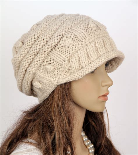 Handmade Knit Hats - slouchy handmade knitted hat cap beige on luulla
