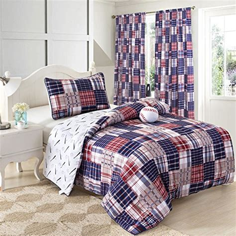 Size Sports Bedding by 3 Baseball Sports Theme Plaid White And Blue