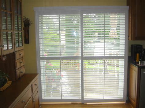 plantation shutters on a sliding glass door modern