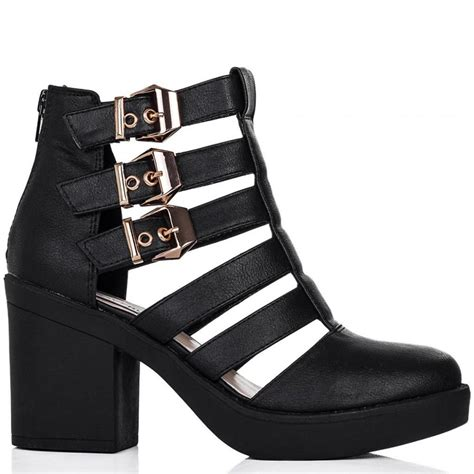 Cut Out Boots by Buy Beckon Heeled Cut Out Platform Ankle Boots Black