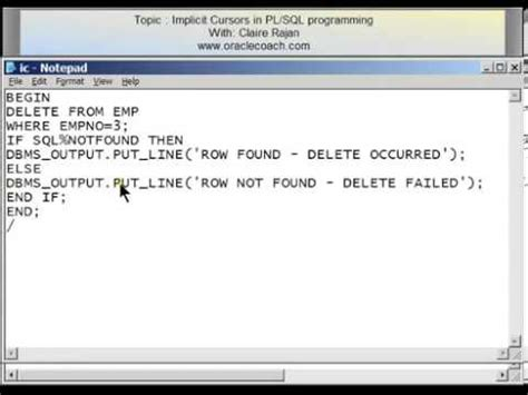 oracle tutorial for pl sql oracle pl sql tutorial implicit cursors 22 youtube