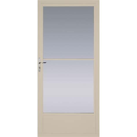pella retractable screen door shop pella tan mid view aluminum retractable screen storm