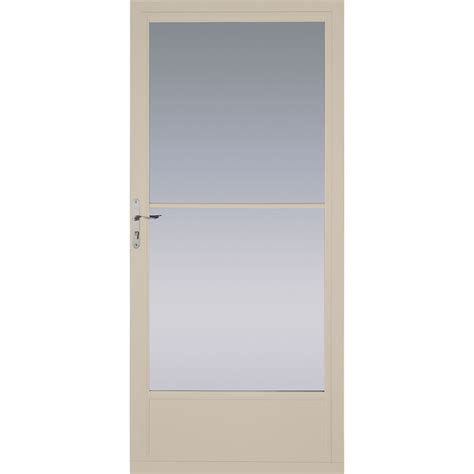 Pella Retractable Screen Door shop pella tan mid view aluminum storm door with