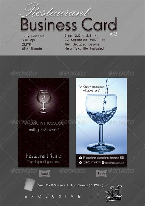 restaurant business cards templates free restaurant business card v 2 graphicriver