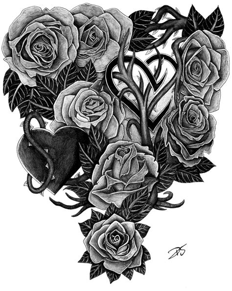 roses and hearts tattoo design by davidsteeleartworks on
