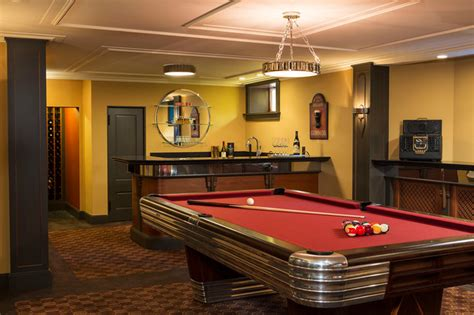 Pool Table Space by Deco Entertaining Traditional Basement