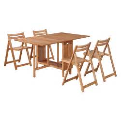 Folding Dining Table And Chairs Set Linon Delany 5 Space Saver Folding Dining Set With Self Storing Chairs At Hayneedle