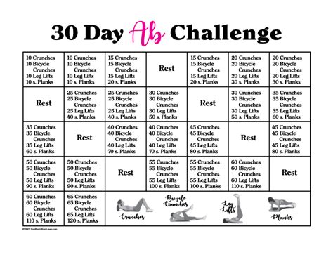 30 days abs challenge calendar southern 30 day ab challenge with calendar and