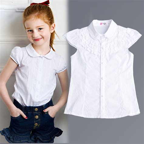30779 White Cotton Blouse 2016 summer blouse baby clothes cotton tops lace school white blouses for