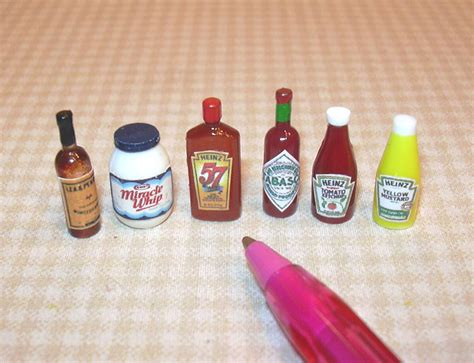 dollhouse items miniature condiment assortment 1 6 items dollhouse