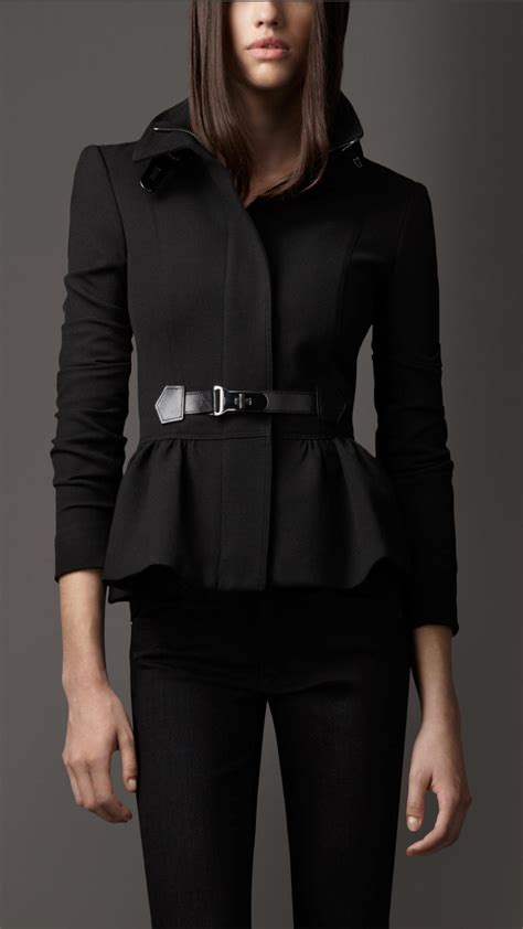 Burberry Style Leather burberry bridle leather detail peplum jacket in black lyst