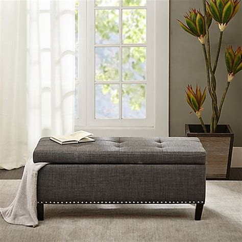 shandra bench storage madison park shandra ll storage bench in charcoal bed