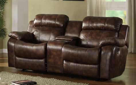 loveseats with console homelegance marille rocking reclining loveseat in warm