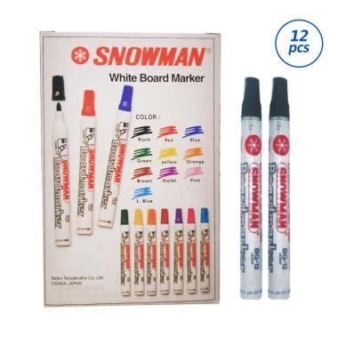Spidol Marker Snowman 1 Bj jual snowman white board marker spidol hitam 12 pcs