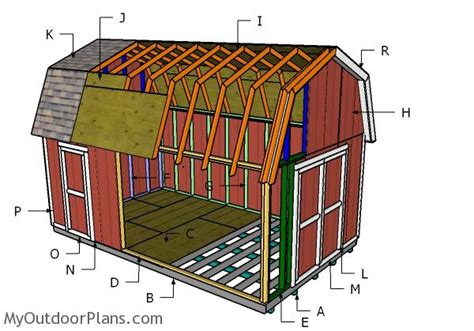 how to build gambrel roof 12x20 gambrel shed plans myoutdoorplans free