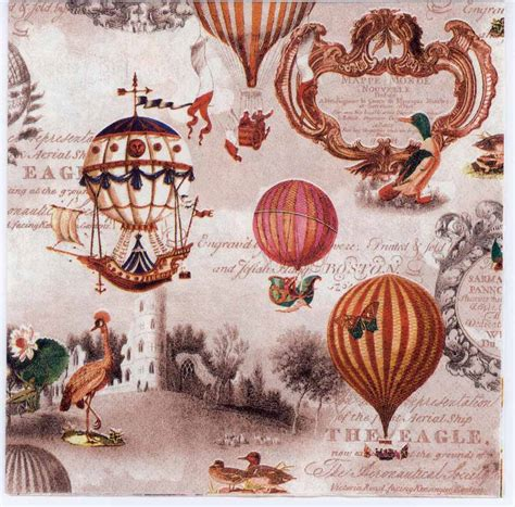 decoupage paper of vintage americana balloons airships