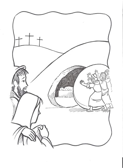 coloring page of jesus tomb jesus raises lazarus coloring page coloring home