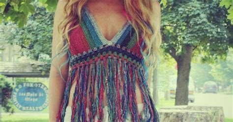 Peace Fringe Top rainbow peace festival top with fringe ombre crochet crop